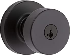 Kwikset 97402-854 Pismo Keyed Entry Door Knob Featuring SmartKey Security, Iron Black
