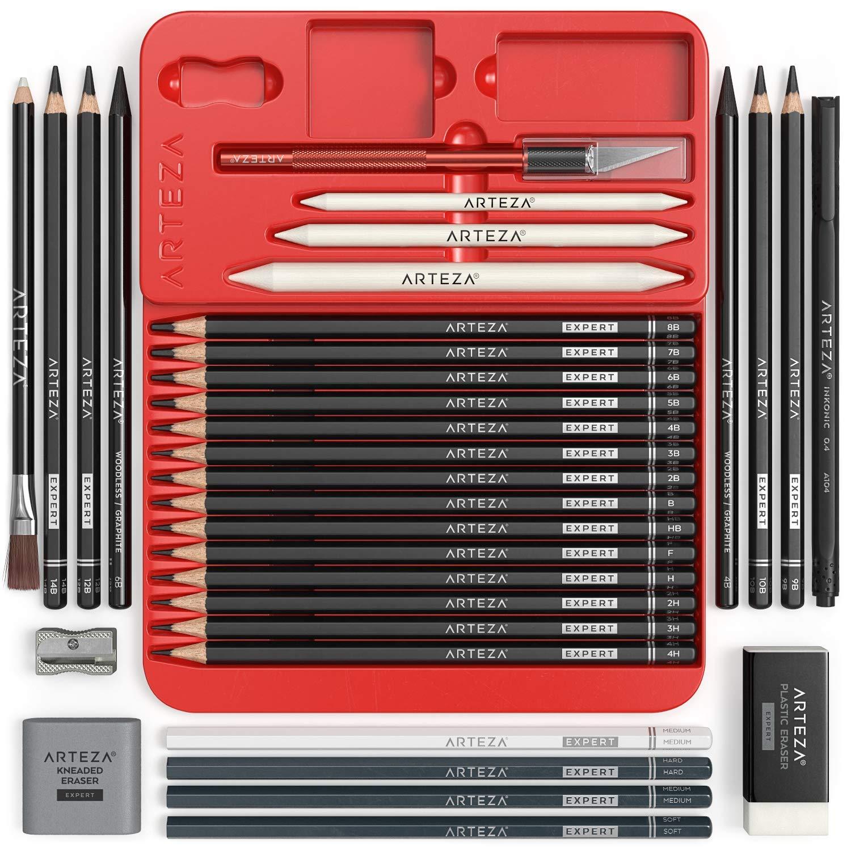 Arteza Lápices de dibujo profesional, estuche de 20 lápices de grafito y 4 de carbón, 1 delineador, 3 mezcladores, 1 sacapuntas, 3 borradores y 1 cutter de precisión para principiantes y expertos: Amazon.es: Oficina y papelería