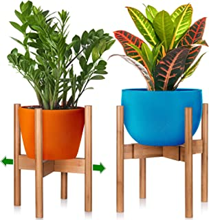 Mid-Century Modern Indoor Plant Stand - 8 9 10 11 12 in Plant Stand – Wooden Plant Holder – Fig Plant Stand Holder - Adjustable Indoor Plant Pot Wood Stand – 8in 12in Plant Stand