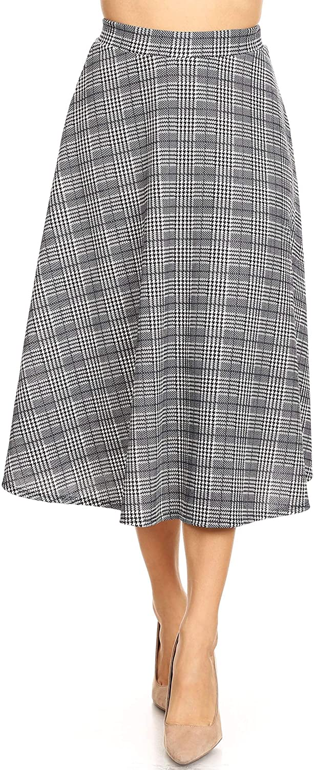 FashionJOA Women's Solid Print Casual Comfy Sexy Office Work Relaxed Fit A-Line Midi Skirt
