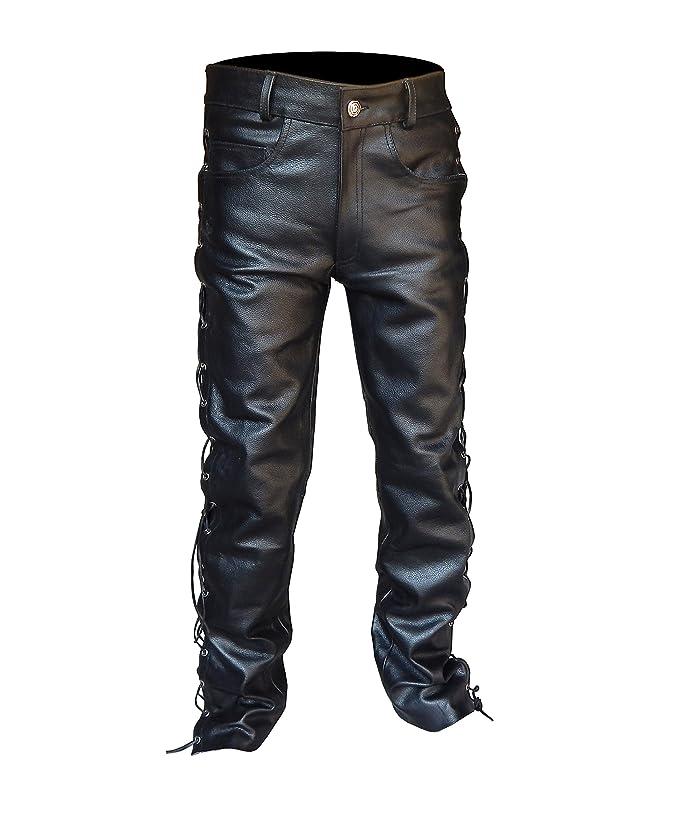 4Fit Men's Thick Soft Black Leather Side Laces Jeans Model Pant Waist Size 30