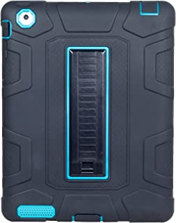 iPad 2 Case,iPad 3 Case,iPad 4 Case, Yoomer Three Layer Heavy Duty Full Body Protective Bumper Armor Defender Rugged Hybrid Shockproof Rugged Drop Protection Cover with Kickstand for iPad 2/3/4th Gen