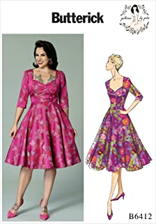 Butterick Patterns B6412 A5 Misses` Sweetheart-Neckline, Full-Skirted Dress Pattern by Gertie, Size 6-14 (6412)