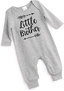 Tesa Babe Little Brother Arrow Romper, Newborn Baby Boy Cotton Playsuit, Grey