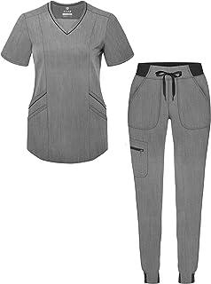 Adar Pro Heather Modern Athletic Scrub Set for Women - Modern V-Neck Scrub Top & Yoga Jogger Scrub Pants