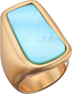 Blue Mother-of-Pearl Statement Ring
