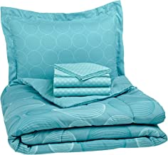 AmazonBasics 5-Piece Bed-In-A-Bag Comforter Bedding Set - Twin or Twin XL, Industrial Teal, Microfiber, Ultra-Soft