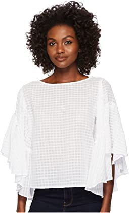 Textured Grid Drop Shoulder Ruffle Sleeve Blouse