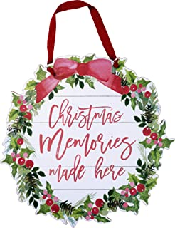 Primitives by Kathy Hanging Wreath Wall Decor - Christmas Memories Made Here - Farmhouse Style Wood Sign with Ribbon Hanger; 15