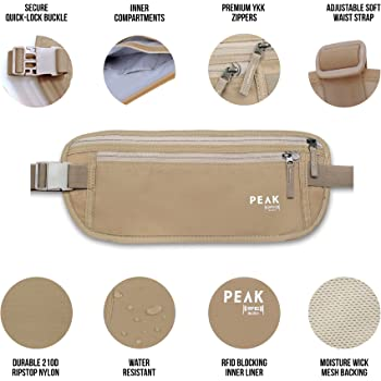 Travel Money Belt with RFID Block - Theft Protection and Global Recovery Tags (Beige)