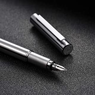 HONGDIAN Stainless Steel Fountain Pen, Silver Barrel Chrome Trim, Classic Design, Fine Nib, Smooth Writing Pen with Converter and 2 Ink Cartridges, Luxury Gift Case
