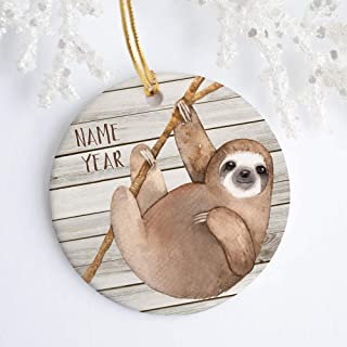 DKISEE Sloth Ornament Personalized Ornament Holiday Decorations Jungle Animals Ornament for Kids 3