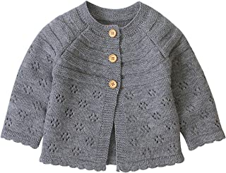 Infant Toddler Baby Sweater for Girls Long Sleeve Round Neck Baby Cardigan Autumn Winter 18M-5T