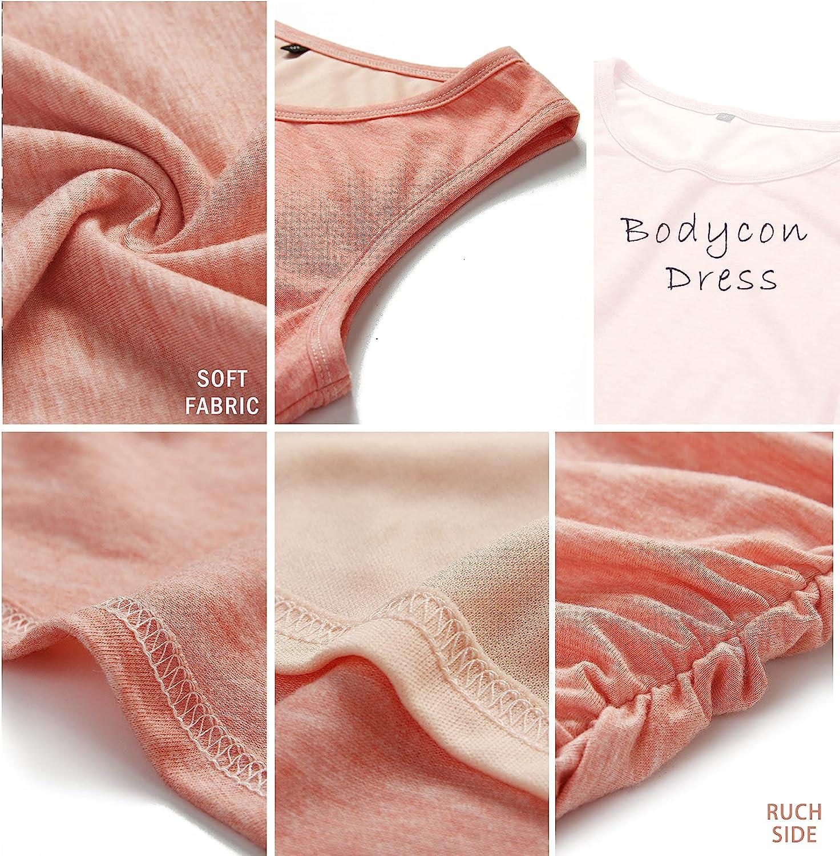BTFBM Women Casual Crew Neck Ruched Sleeveless Tank Bodycon 2021 Shirt Short Mini Dresses