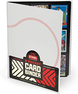 9 Pocket Baseball Card Binder | White | 20 Double-Sided Pages | 360 Side-Loading Card Protector Storage Pockets Compatible with 2.5