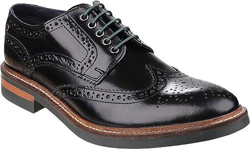 Base London Woburn Hi Shine Cuero negro Nuevos hombres Formales Brogue zapatos Casuales botas