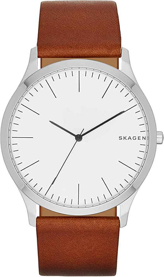 Amazon.com: Skagen Men's Jorn Quartz Analog Stainless Steel and Leather  Watch, Color: White/Brown (Model: SKW6331) : Clothing, Shoes & Jewelry