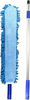 Jet Clean Chenille Microfiber Flat Hand Duster-Dust Appliances, Ceiling Fans, Blinds, Furniture, Shutters, Cars, Delicate Surfaces-Chenille-Extension Pole Reach 25-44
