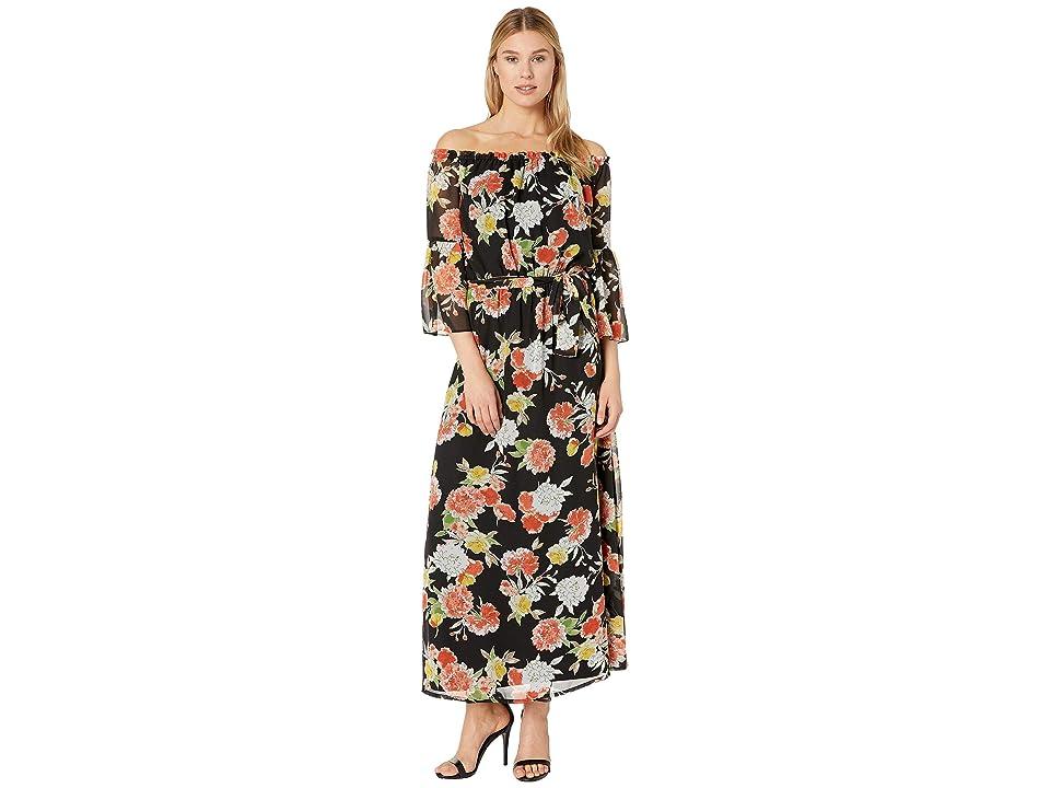 Nine West Off the Shoulder Maxi Dress w/ Self Sash (Black/Papaya) Women