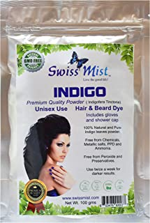 Swiss Mist Indigo Powder Hair Dye 100% Natural, No Chemicals, Metallic Salts, Free from PPD, Ammonia, Peroxide, GMO-Free, Triple sifted for Quality, Guaranteed Freshness; 100 Grams (3.52 oz)