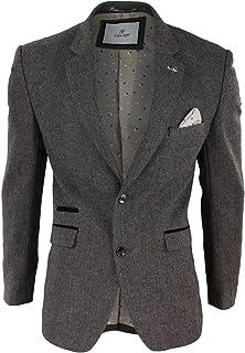 House Of Cavani Mens Blinders Wool Herringbone Tweed Blazer Jacket Blue Brown Vintage