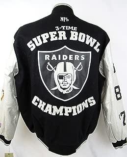 Oakland Raiders Mens Size Medium Full Zip 3 Time Super Bowl Champions Wool Leather Varsity Jacket ARAD 178 A1 2240