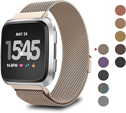 GreenInsync for Fitbit Versa Bands, Fitbit Versa Milanese Loop Stainless Steel Replacement Accessory Band Adjustable Metal Bracelet Strap Large Small for Fitbit Versa Wristbands W/Magnet Lock