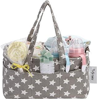 Hinwo Baby Diaper Caddy 3-Compartment Infant Nursery Tote Storage Bin Portable Car Organizer Newborn Shower Gift Basket wi...
