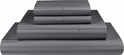Threadmill Home Linen bedding collection 600 Thread count 100% ELS Cotton Damask Stripe Sheet Set, Hem Stitch Luxury Beddi...