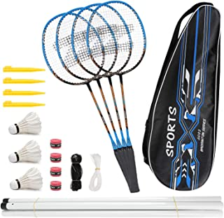 Fostoy Badminton Racquets,Lightweight Carbon Fiber Badminton Rackets Set for Adult and Children, Including 4 Rackets, 3 Shuttlecocks, 4 Overgrip and Carry Bag