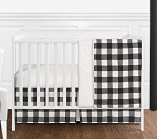 Sweet Jojo Designs Black and White Rustic Farmhouse Woodland Flannel Buffalo Plaid Check Baby Unisex Boy or Girl Nursery Crib Bedding Set Without Bumper - 4 Pieces - Country Lumberjack