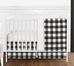 Sweet Jojo Designs Black and White Rustic Woodland Flannel Buffalo Plaid Check Baby Unisex Boy or Girl Nursery Crib Beddin...