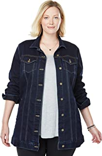 766c244438657 Woman Within Women's Plus Size Long Stretch Denim Jacket