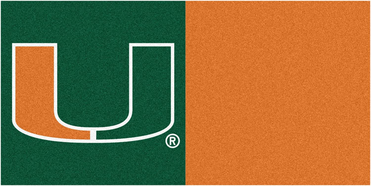 FANMATS NCAA University of Miami Hurricanes Nylon Face Team Carpet Tiles