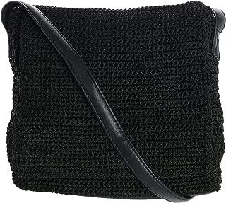 CTM Women's Crochet Crossbody Bag with Front Flap