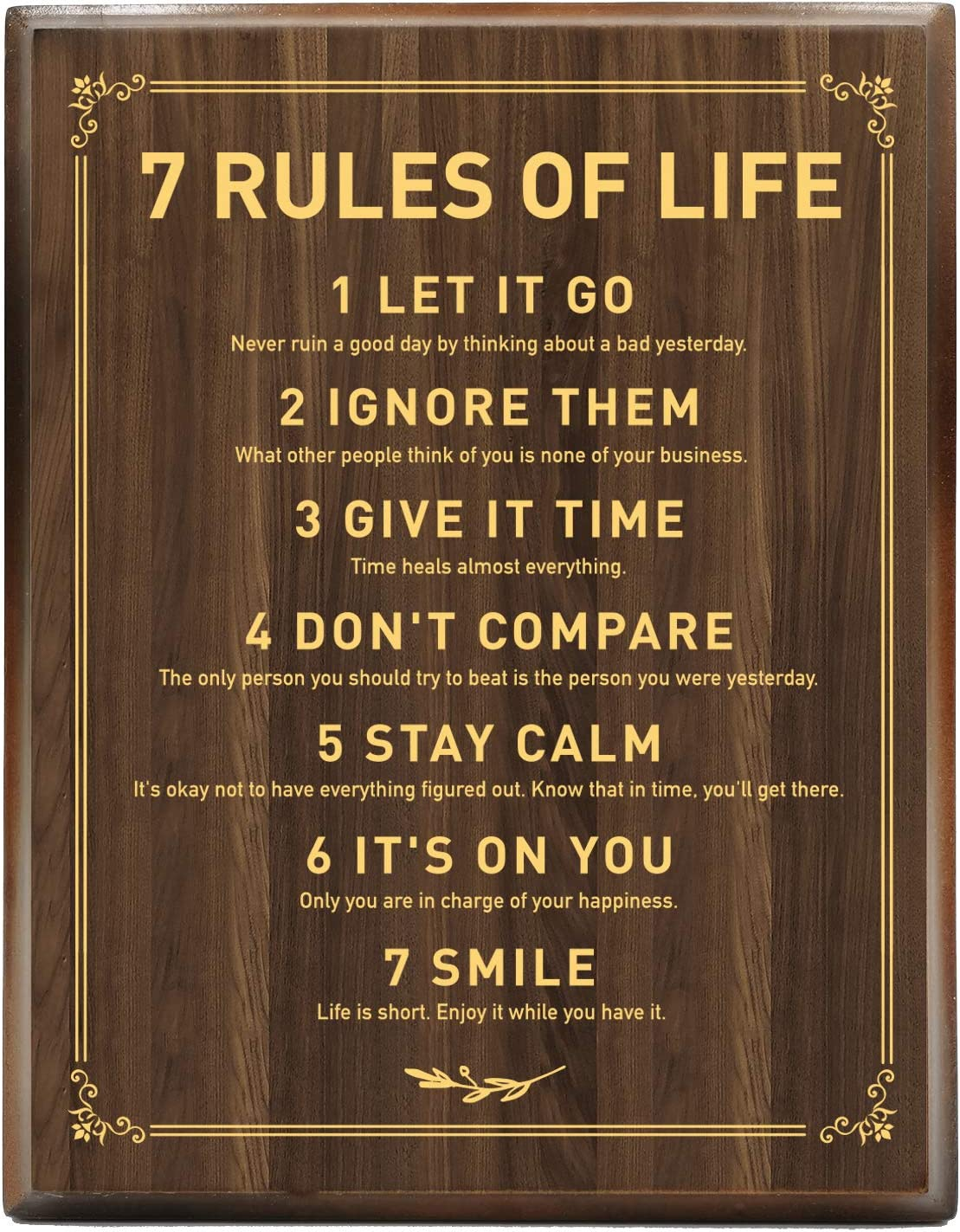 Yuzi-n Inspiring Motivational 7 Rules of Life Quotes Engraved Gold Wood Plaque Decorations Gifts for Home Living Room Bedroom Office Decor