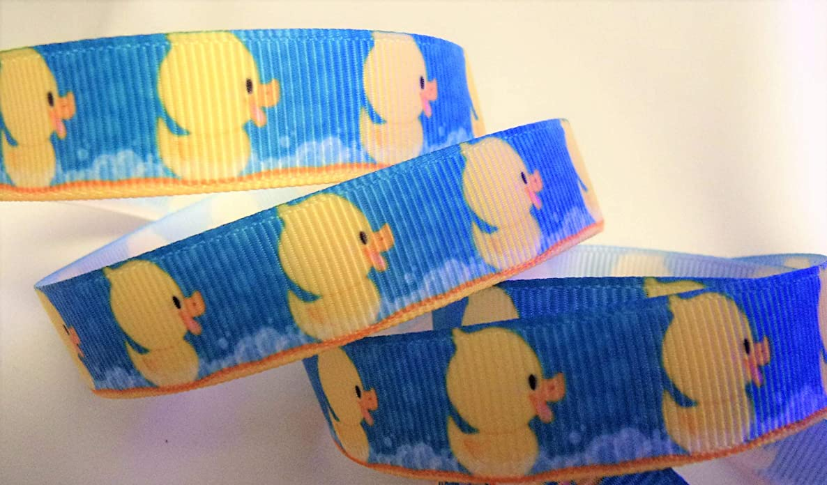 Grosgrain Printed Ribbon - Baby Duck Print - 5/8 Inch Wide - 10 Yards - Hair Bows & Baby Crafts