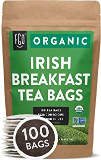 Organic Irish Breakfast Tea Bags | 100 Tea Bags | Blend of Chinese Keemun and Indian Assam Black Teas | Eco-Conscious Tea Bags in Kraft Bag | Blended in USA | by FGO