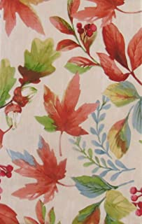 """Vibrant Autumn Leaves, Berries and Acorns Vinyl Flannel Back Tablecloth (52"""" x 70"""" Oblong)"""