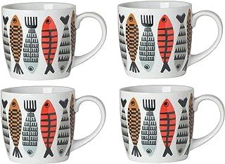 Now Designs Mugs, Fishies, Set of 4