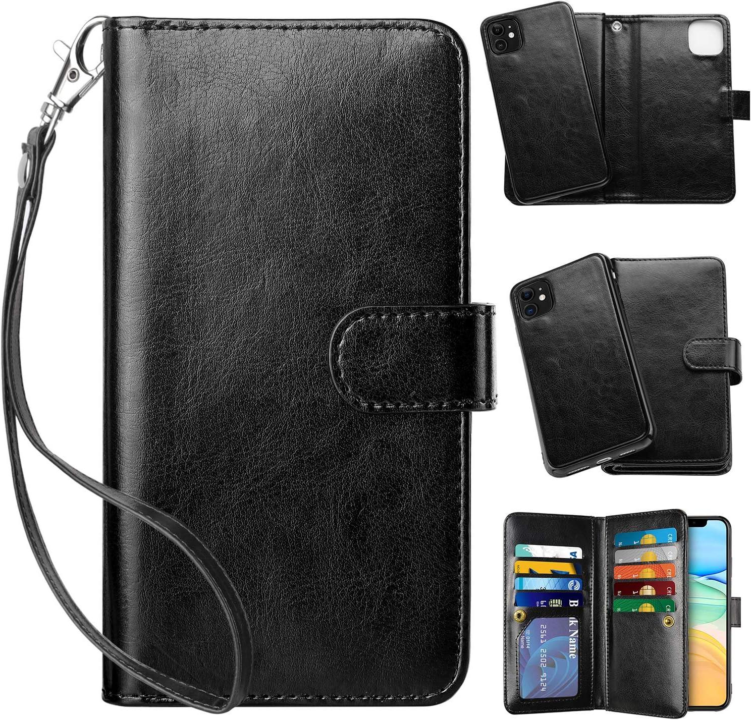 Vofolen 2-in-1 Case for iPhone 11 Case Wallet Credit Card Holder ID Slot Detachable Hybrid Protective Slim Hard Shell Magnetic PU Leather Folio Pocket Flip Cover for iPhone 11 6.1 inch (Black)