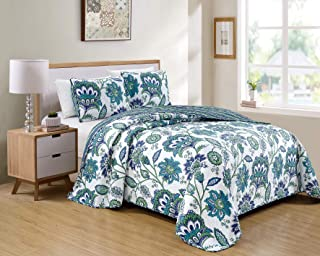 Luxury Home Collection 3 Piece King/California King Quilted Reversible Coverlet Bedspread Set Floral Printed White Navy Bl...