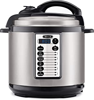 BELLA (14595) 8 Quart Pressure Cooker Multifunction Electric Cooker with One-Touch Digital Presets & Nonstick Cooking Pot