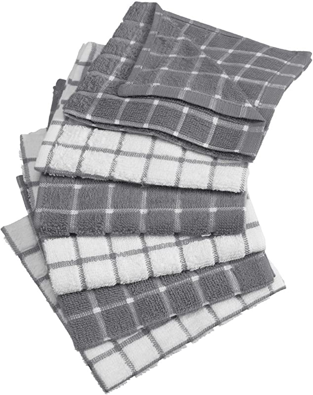 DII 100 Cotton Machine Washable Ultra Absorbant Basic Everyday 12 X 12 Terry Kitchen Dish Cloths Windowpane Design Set Of 6 Gray