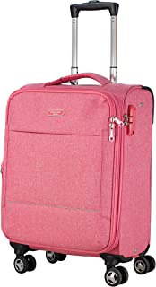 Luggage Super Lightweight carry on Soft side luggage with spinner wheels ultra light suitcase Anti-theft zipper… (Pink, carry on)