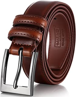 Marino's Men Genuine Leather Dress Belt with Single Prong Buckle.