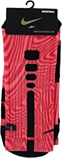 Elite LeBron James Basketball Crew Socks-Red/Black-Large