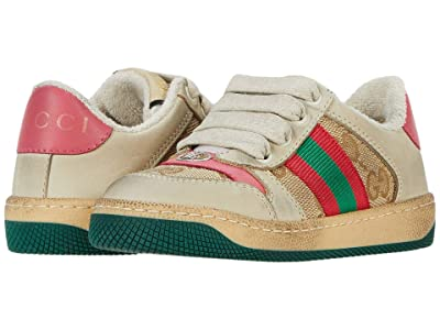 Gucci Kids Screener Sneaker (Toddler) (New Sand/Pink) Girl