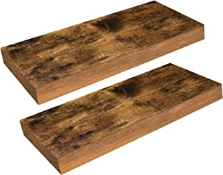 HOOBRO Floating Shelves, Rustic Wooden Wall ShelfSet of 2, 15.7 inch Hanging Shelf with Invisible Brackets, for Bathroom,...