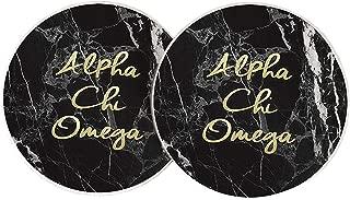 Alpha Chi Omega Sorority Absorbent Sandstone Car Cup Coaster (Set of 2) a chi o (Dark Marble)